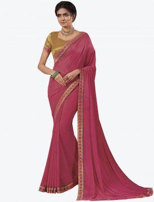 Pink Georgette Designer Saree small FABSA20650