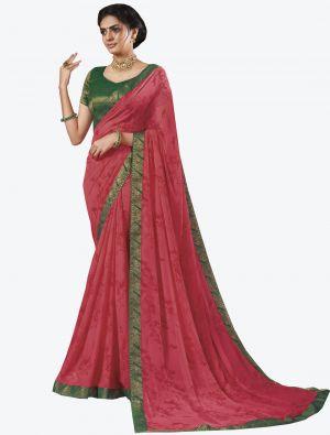 Pink Georgette Designer Saree small FABSA20655