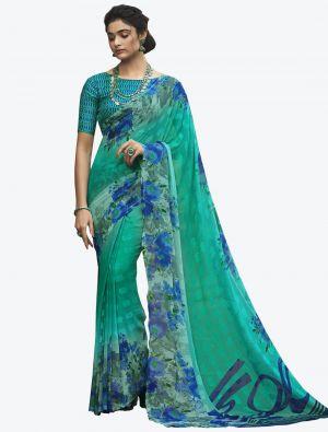 Rama Georgette Butta Designer Saree small FABSA20637