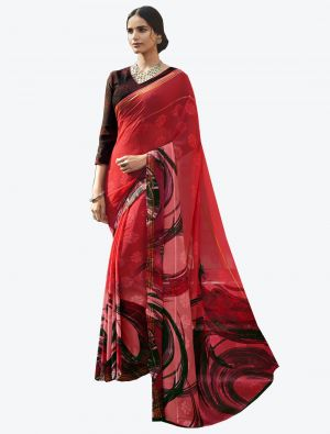 Red Georgette Butta Designer Saree small FABSA20644