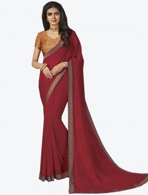 Red Georgette Designer Saree small FABSA20652