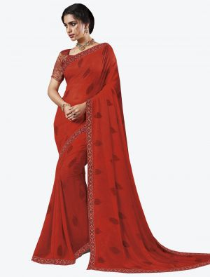 Red Georgette Designer Saree small FABSA20654