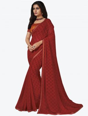 Red Georgette Designer Saree small FABSA20658