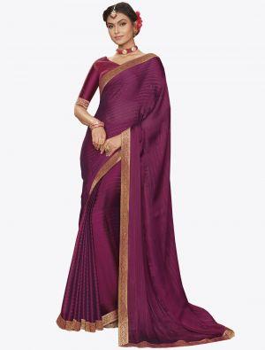 Violet Chiffon Dyed Zari Fabric Designer Saree small FABSA20741