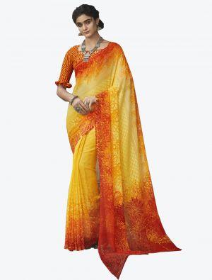 Yellow Georgette Butta Designer Saree small FABSA20646
