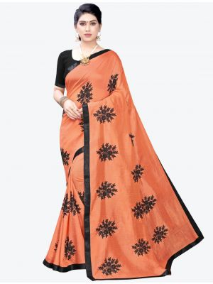 Dark Peach Georgette Designer Saree small FABSA20955