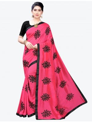 Dark Pink Georgette Designer Saree small FABSA20954