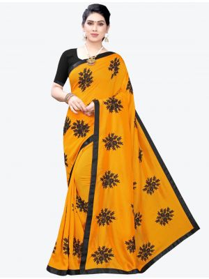 Dark Yellow Georgette Designer Saree small FABSA20956