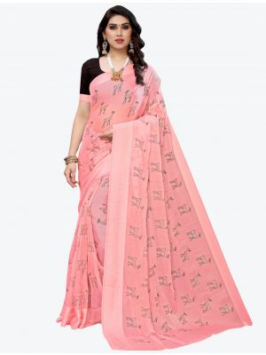 Light Pink Silk Blend Designer Saree small FABSA20951
