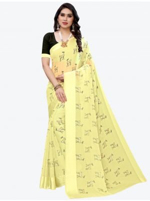 Light Yellow Silk Blend Designer Saree small FABSA20953