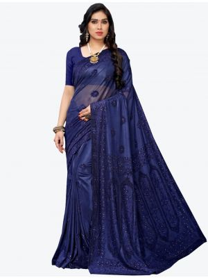 Navy Blue Lycra Designer Saree small FABSA20944