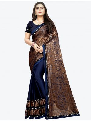 Navy Blue Lycra Designer Saree small FABSA20947