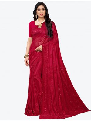 Red Lycra Designer Saree small FABSA20945