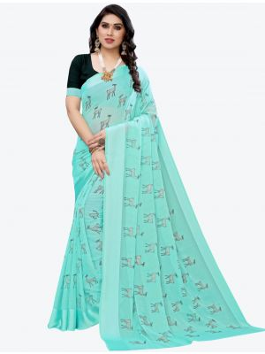 Sky Blue Silk Blend Designer Saree small FABSA20952