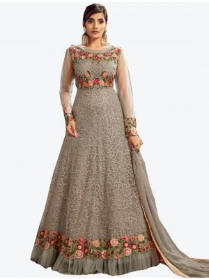 Grey Butterfly Net Floor Length Suit with Dupatta