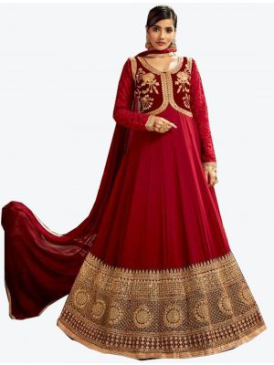 Maroon Georgette Floor Length Suit with Dupatta