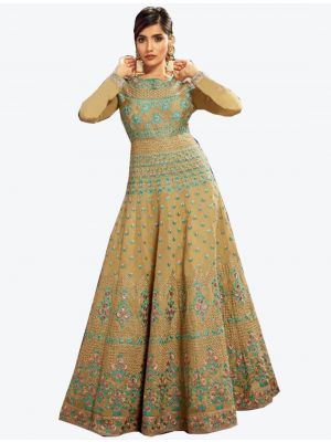 Mustard Slub Silk Floor Length Suit with Dupatta