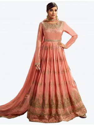 Peach Uppada Silk Floor Length Suit with Dupatta