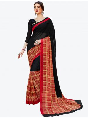 Black and Red Georgette Designer Saree small FABSA20588