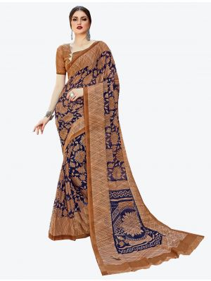Brown and Navy Blue Georgette Designer Saree small FABSA20582