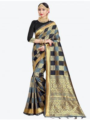 Grey and Black Banarasi Art Silk Designer Saree small FABSA20545