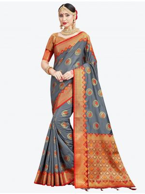 Grey Banarasi Art Silk Designer Saree small FABSA20553