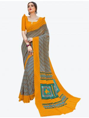Grey Georgette Designer Saree small FABSA20587