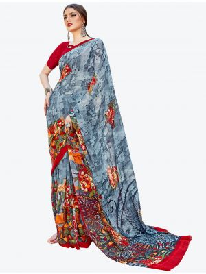 Grey Georgette Designer Saree small FABSA20589