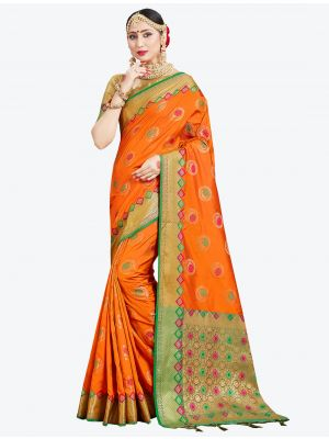 Orange Banarasi Art Silk Designer Saree small FABSA20546