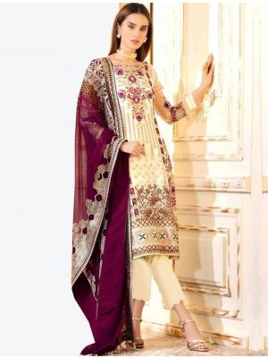 Cream Georgette Straight Suit with Dupatta