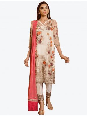 Cream Georgette Straight Suit with Dupatta fabsl20285