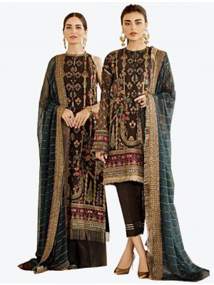 Dark Brown Georgette Straight Suit with Dupatta fabsl20283