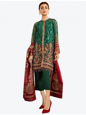 Green Georgette Straight Suit with Dupatta