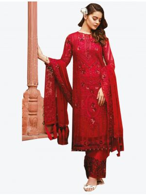 Red Georgette Straight Suit with Dupatta fabsl20281
