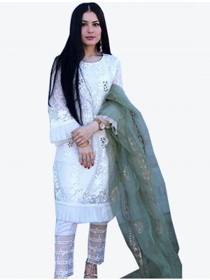 White Georgette Straight Suit with Dupatta