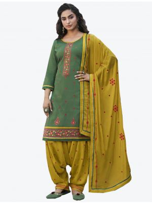 Green Cotton Patiala Suit with Dupatta