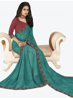 Blue Georgette Designer Saree small FABSA20651