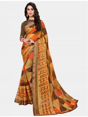 Brown Chiffon Brasso Designer Saree small FABSA20695
