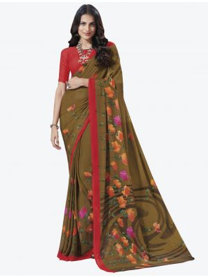 Brown Chiffon Designer Saree small FABSA20708