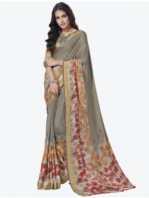 Grey Crape Designer Saree small FABSA20709