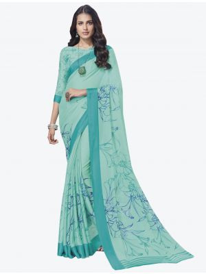 Light Blue Chiffon Designer Saree small FABSA20711