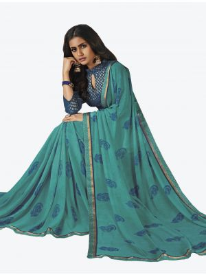 Light Blue Georgette Designer Saree small FABSA20653