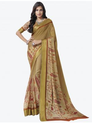 Light Brown Chiffon Designer Saree small FABSA20713