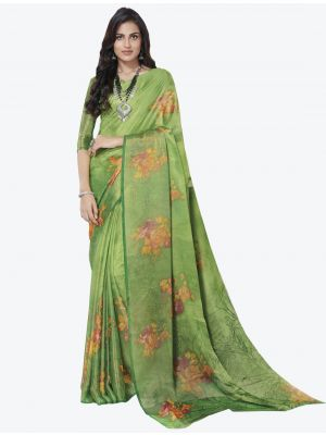 Light Green Chiffon Brasso Designer Saree small FABSA20715