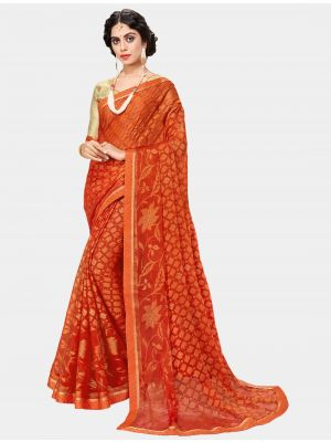 Orange Chiffon Brasso Designer Saree small FABSA20697