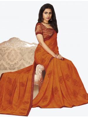 Orange Georgette Designer Saree small FABSA20656