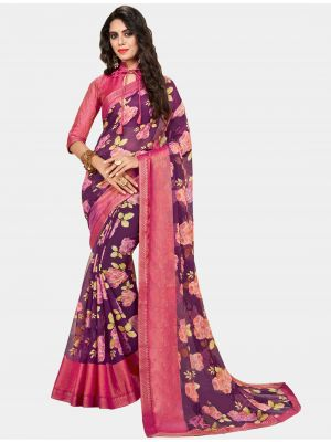 Purple Chiffon Brasso Designer Saree small FABSA20700