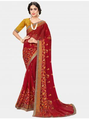 Red Chiffon Brasso Designer Saree small FABSA20706