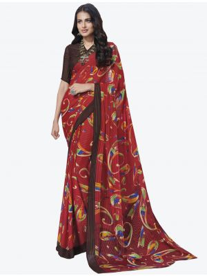 Red Georgette Designer Saree small FABSA20714