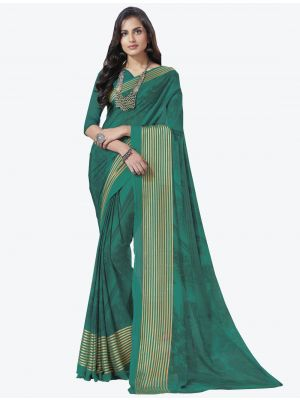 Sea Green Chiffon Designer Saree small FABSA20717